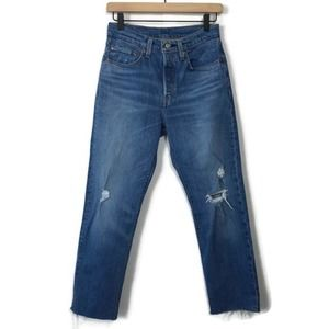 Levi's 501 Cropped Distressed High Rise Button Fly Size 26